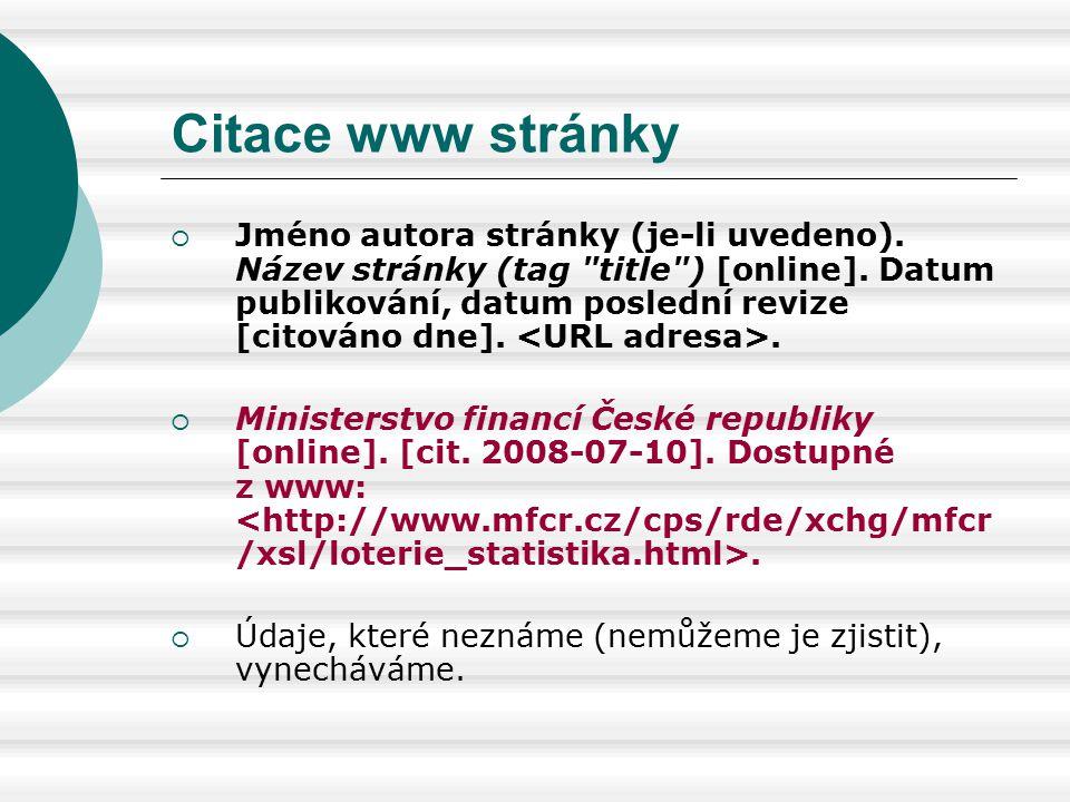 Citace www stránky