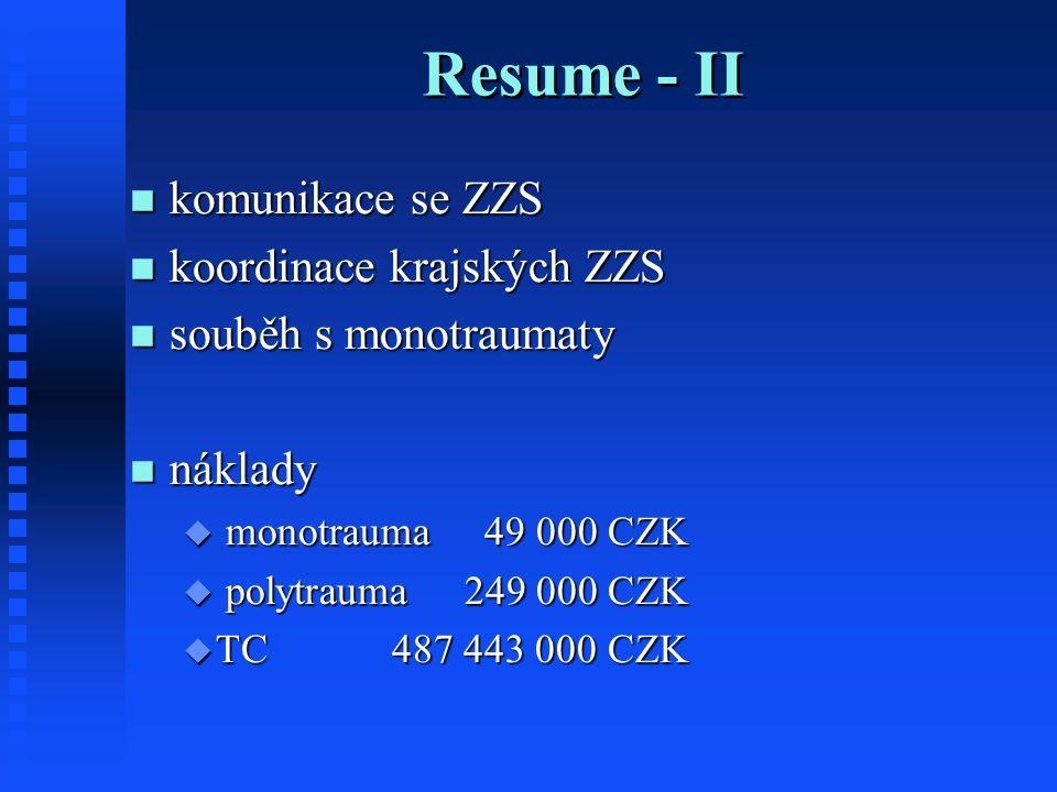 Resume - II komunikace se ZZS koordinace krajských ZZS