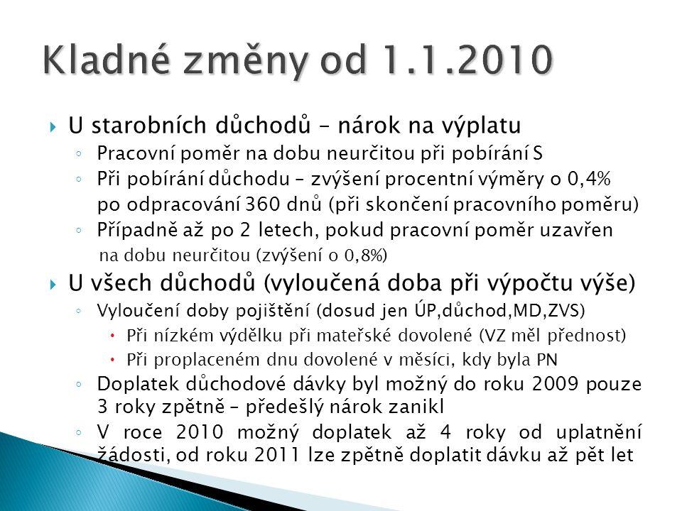 Kladné změny od 1.1.2010 U starobních důchodů – nárok na výplatu