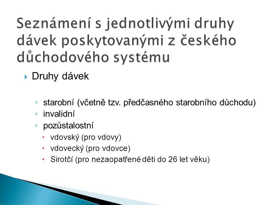 Seznámení s jednotlivými druhy dávek poskytovanými z českého důchodového systému