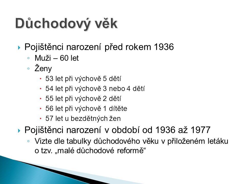 Důchodový věk Pojištěnci narození před rokem 1936
