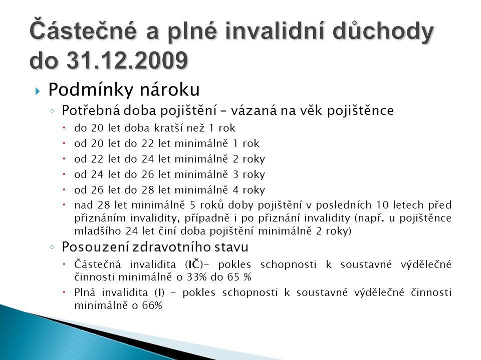 Částečné a plné invalidní důchody do 31.12.2009