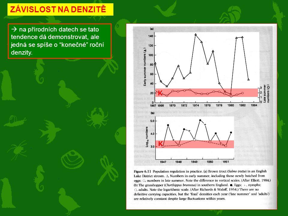 ZÁVISLOST NA DENZITĚ  na přírodních datech se tato tendence dá demonstrovat, ale jedná se spíše o konečné roční denzity.