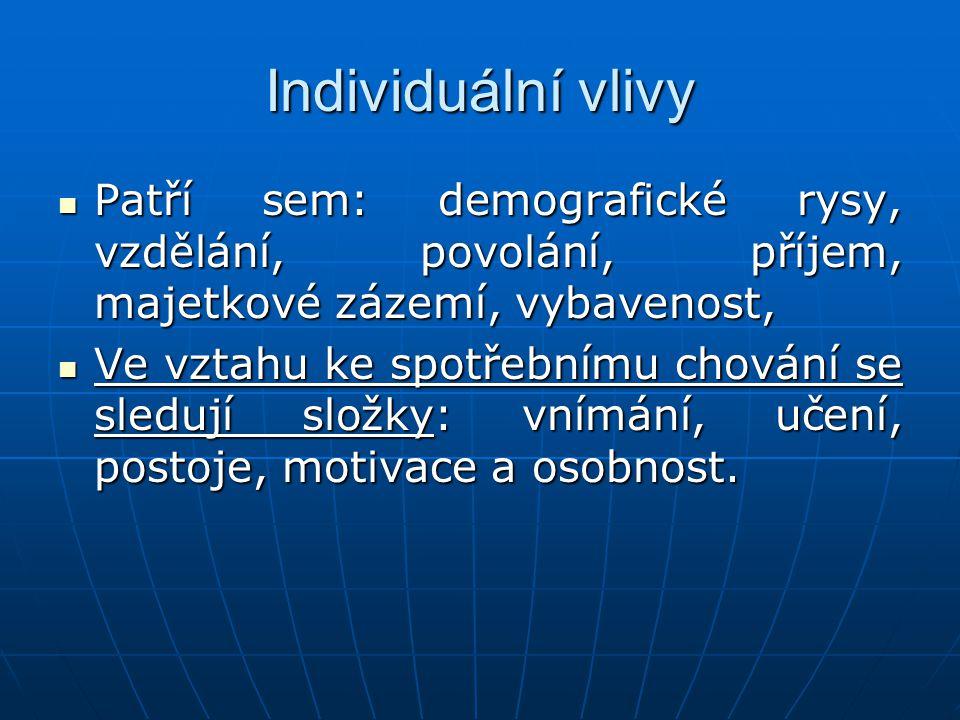Individuální vlivy Patří sem: demografické rysy, vzdělání, povolání, příjem, majetkové zázemí, vybavenost,