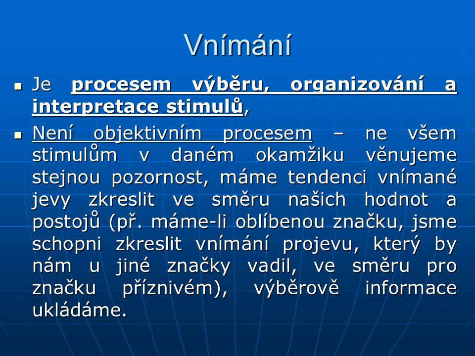 Vnímání Je procesem výběru, organizování a interpretace stimulů,