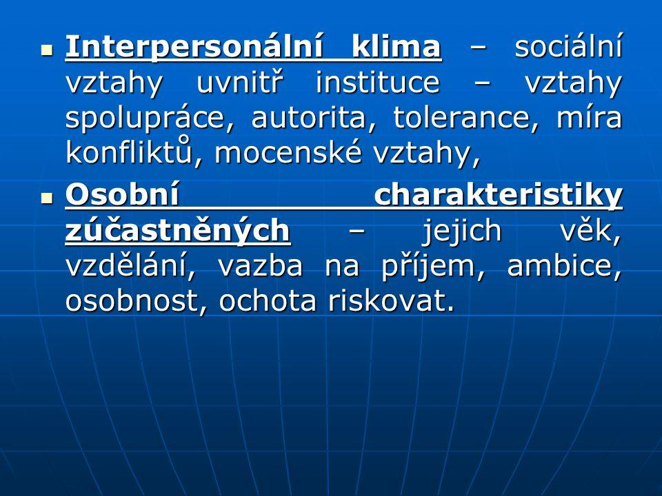 Interpersonální klima – sociální vztahy uvnitř instituce – vztahy spolupráce, autorita, tolerance, míra konfliktů, mocenské vztahy,