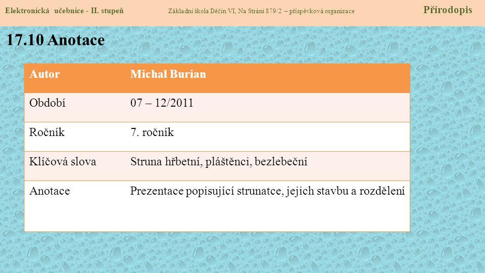 17.10 Anotace Autor Michal Burian Období 07 – 12/2011 Ročník 7. ročník