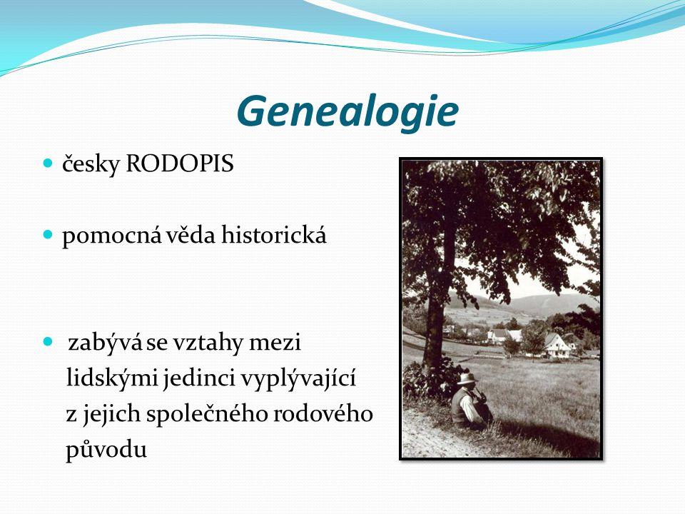 Genealogie česky RODOPIS pomocná věda historická zabývá se vztahy mezi