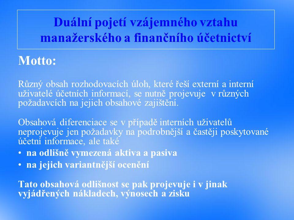 Duální pojetí vzájemného vztahu manažerského a finančního účetnictví