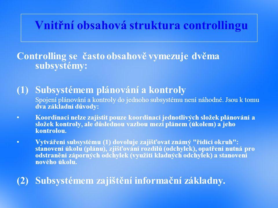 Vnitřní obsahová struktura controllingu
