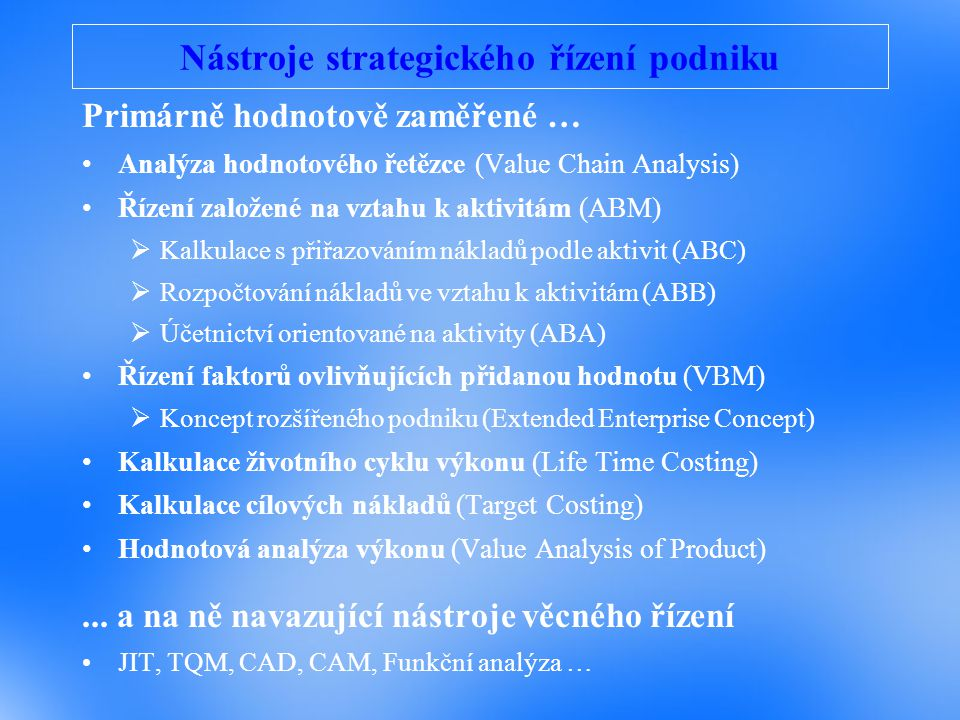 Nástroje strategického řízení podniku