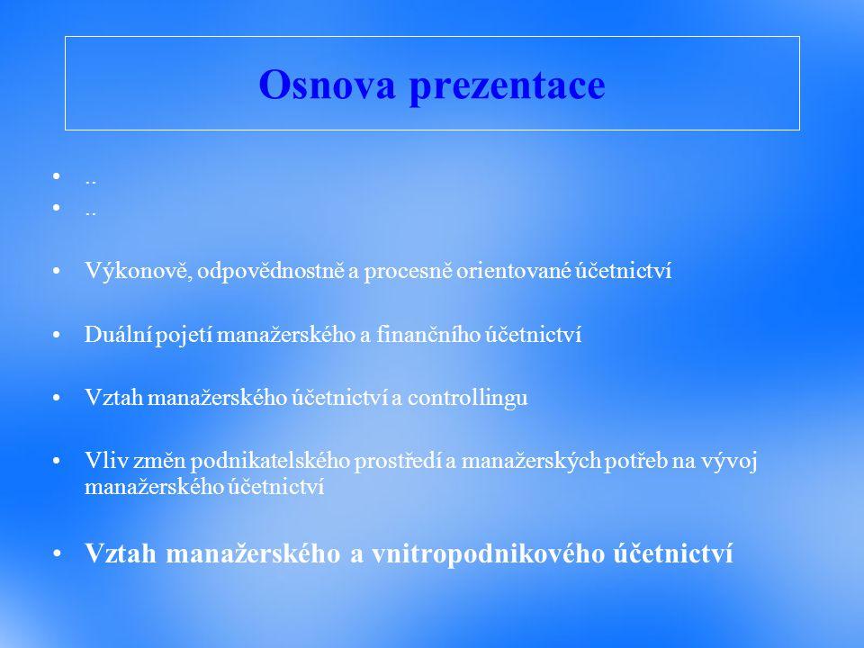 Osnova prezentace Vztah manažerského a vnitropodnikového účetnictví ..
