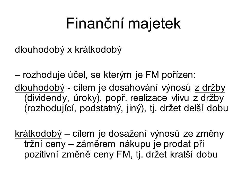 Finanční majetek dlouhodobý x krátkodobý