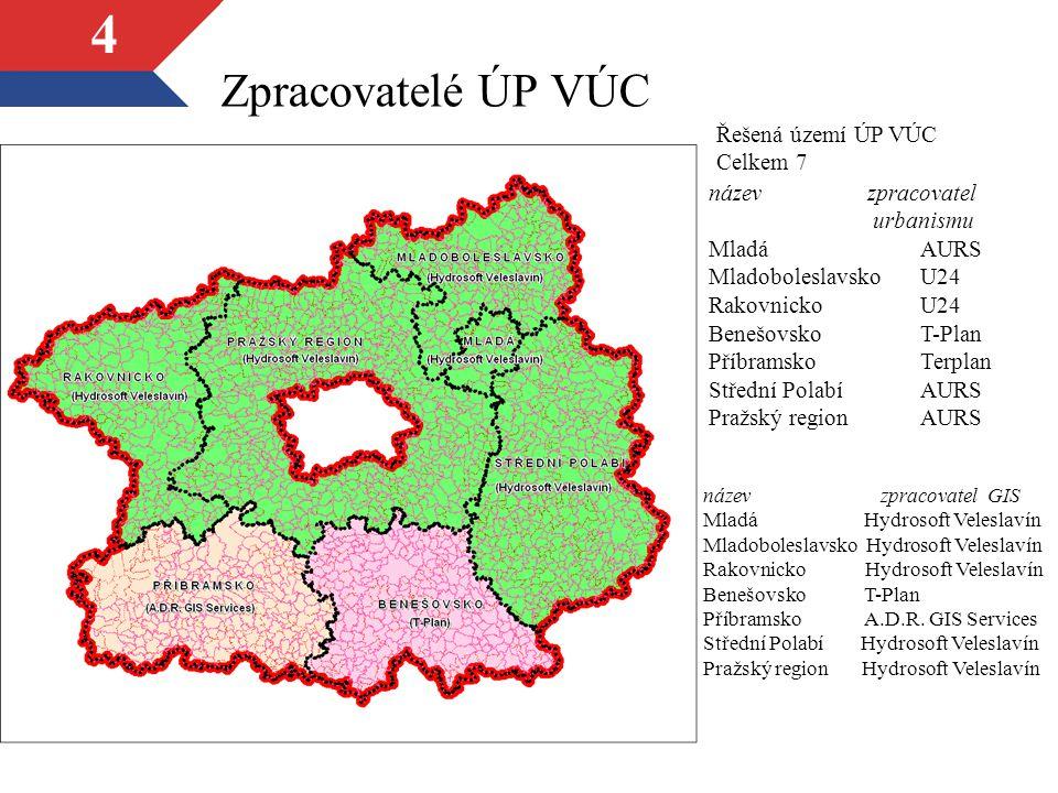 Zpracovatelé ÚP VÚC Řešená území ÚP VÚC Celkem 7 název zpracovatel