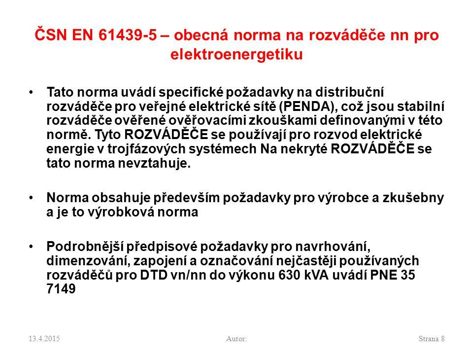 ČSN EN 61439-5 – obecná norma na rozváděče nn pro elektroenergetiku