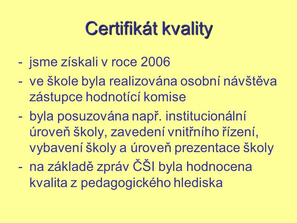 Certifikát kvality jsme získali v roce 2006