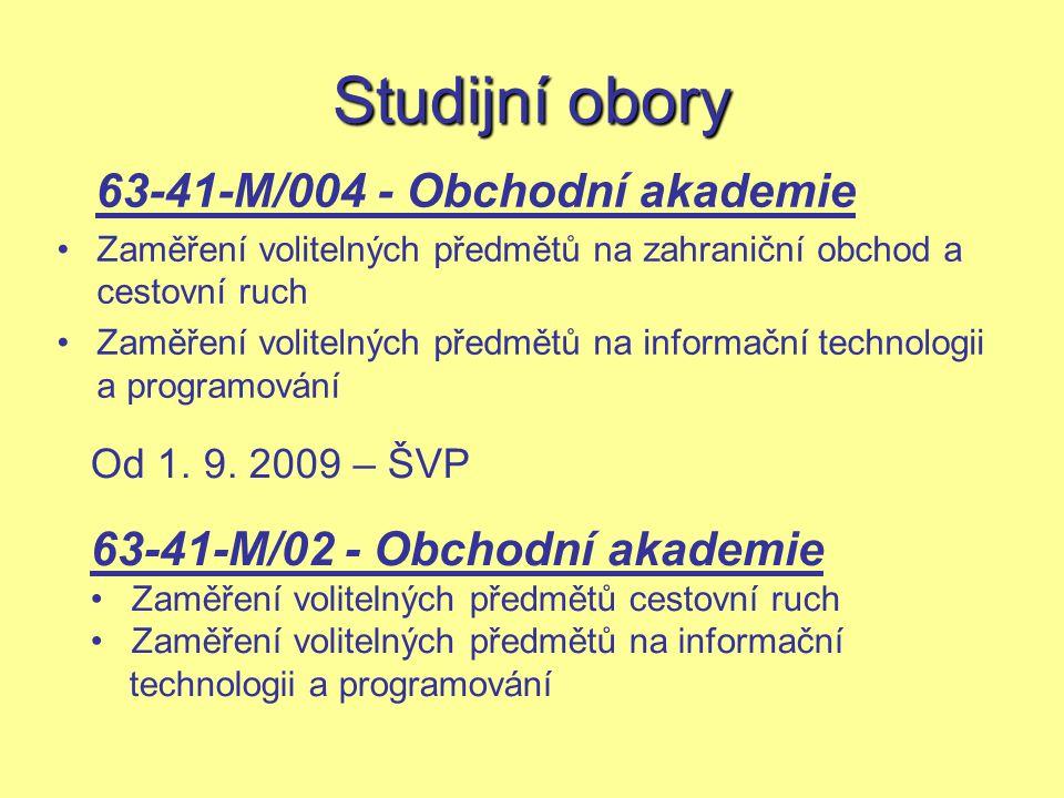 Studijní obory 63-41-M/004 - Obchodní akademie