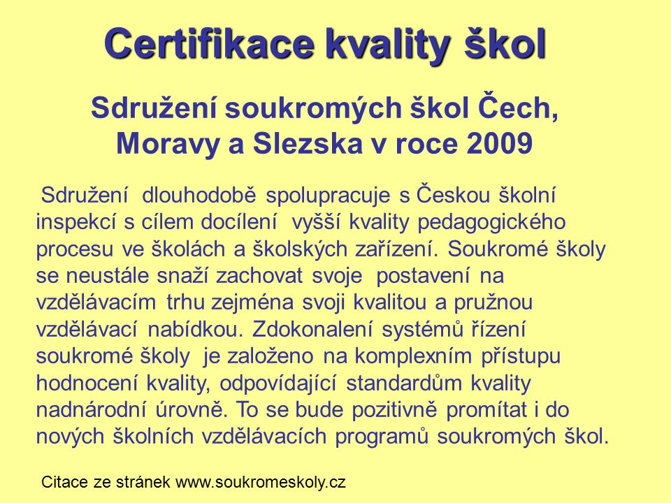 Certifikace kvality škol