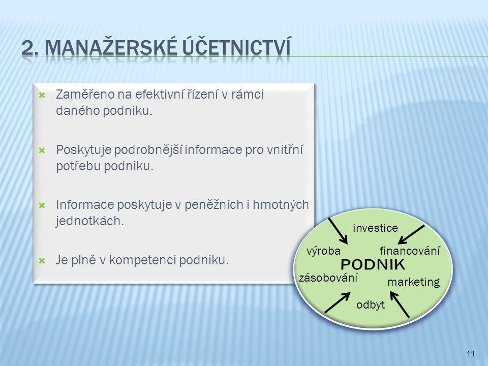 2. Manažerské účetnictví