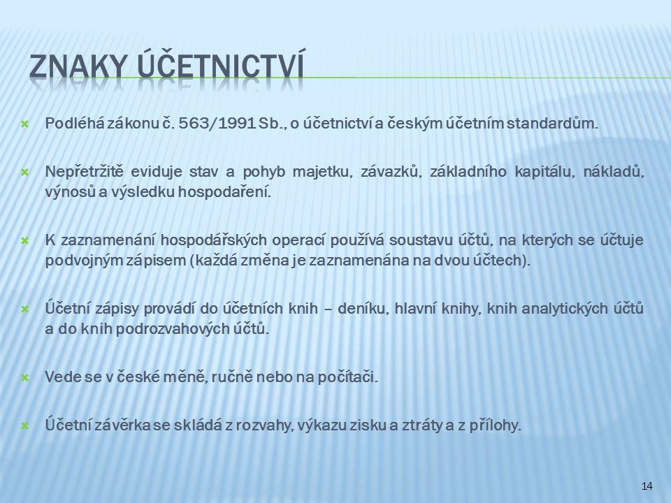 Znaky Účetnictví Podléhá zákonu č. 563/1991 Sb., o účetnictví a českým účetním standardům.