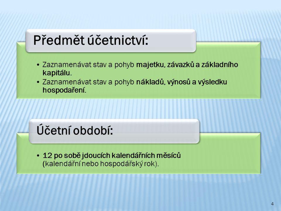 Předmět účetnictví: Účetní období: