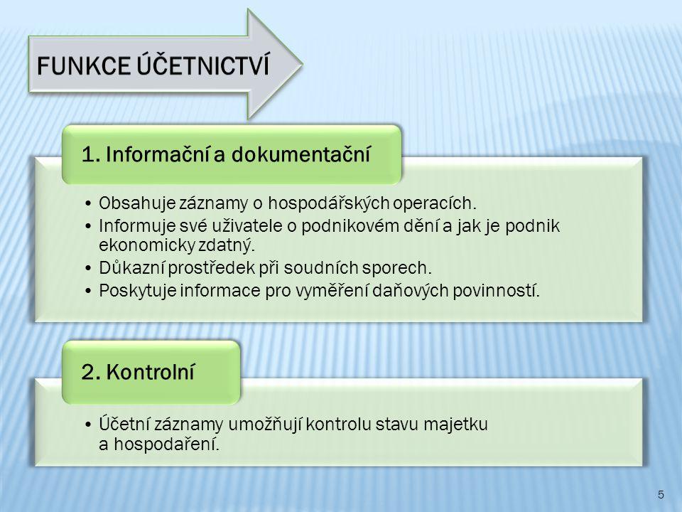 FUNKCE ÚČETNICTVÍ 1. Informační a dokumentační 2. Kontrolní