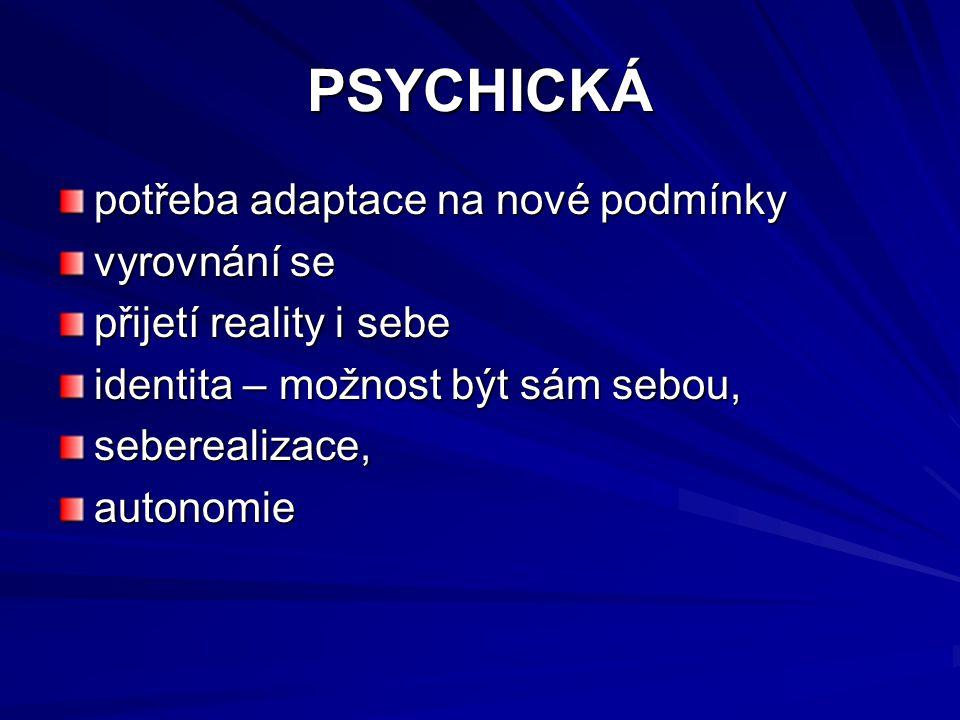 PSYCHICKÁ potřeba adaptace na nové podmínky vyrovnání se