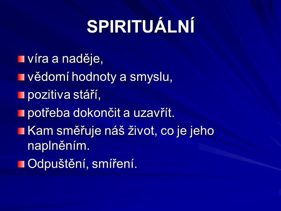 SPIRITUÁLNÍ víra a naděje, vědomí hodnoty a smyslu, pozitiva stáří,