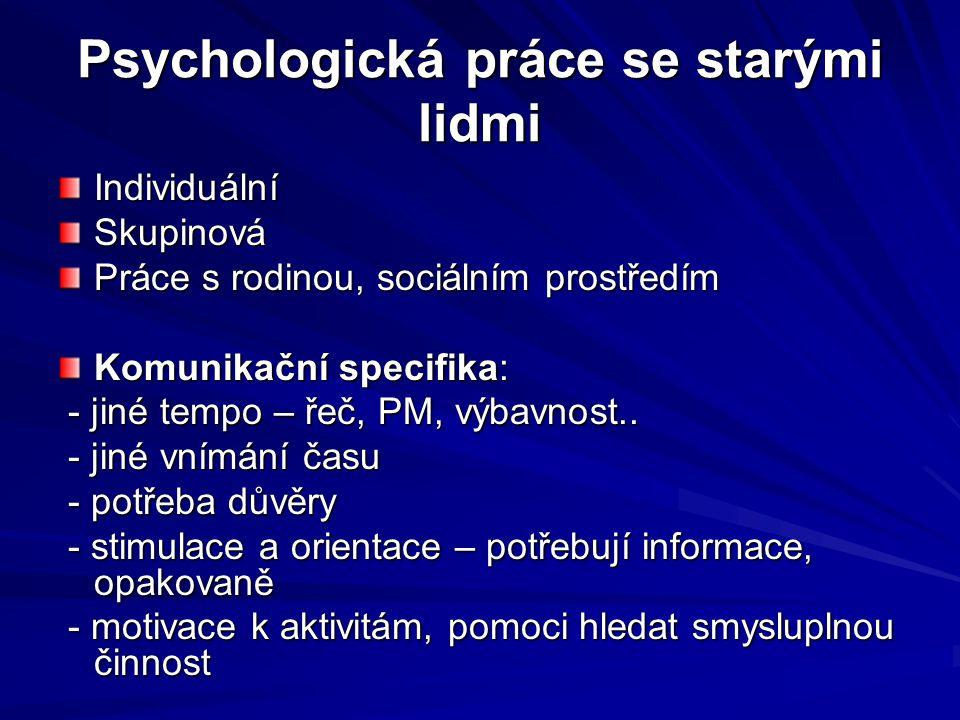 Psychologická práce se starými lidmi