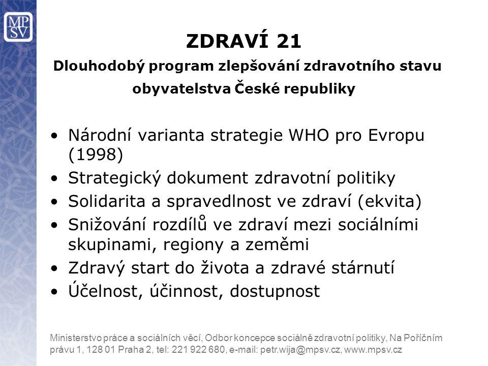 ZDRAVÍ 21 Dlouhodobý program zlepšování zdravotního stavu obyvatelstva České republiky