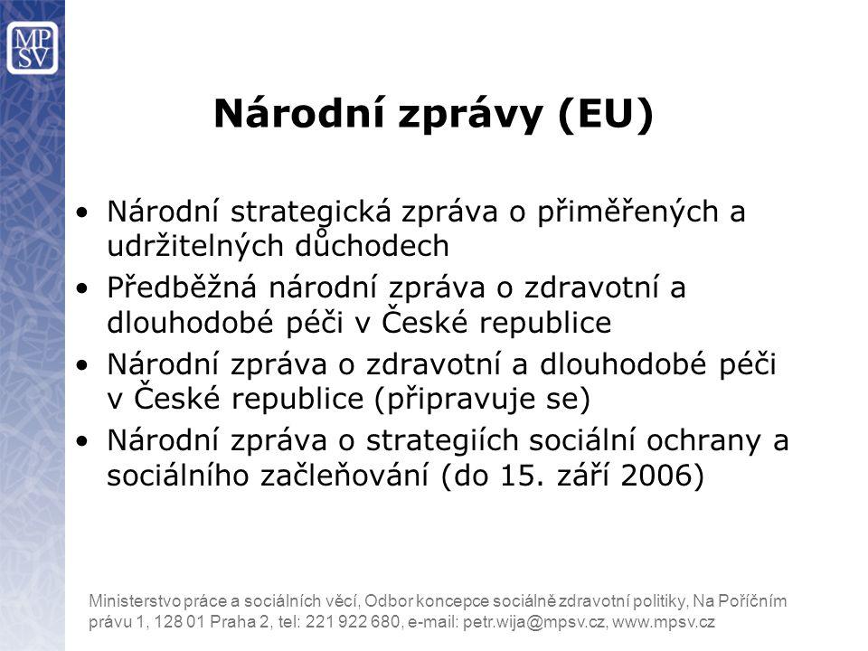 Národní zprávy (EU) Národní strategická zpráva o přiměřených a udržitelných důchodech.