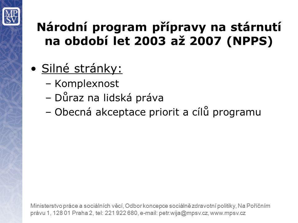 Národní program přípravy na stárnutí na období let 2003 až 2007 (NPPS)