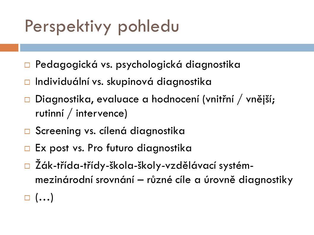 Perspektivy pohledu Pedagogická vs. psychologická diagnostika