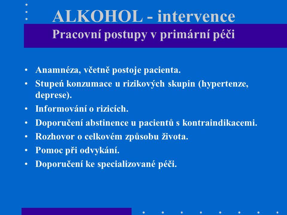 ALKOHOL - intervence Pracovní postupy v primární péči