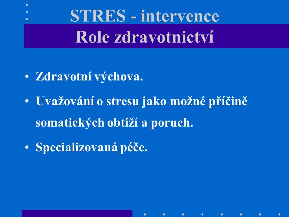 STRES - intervence Role zdravotnictví