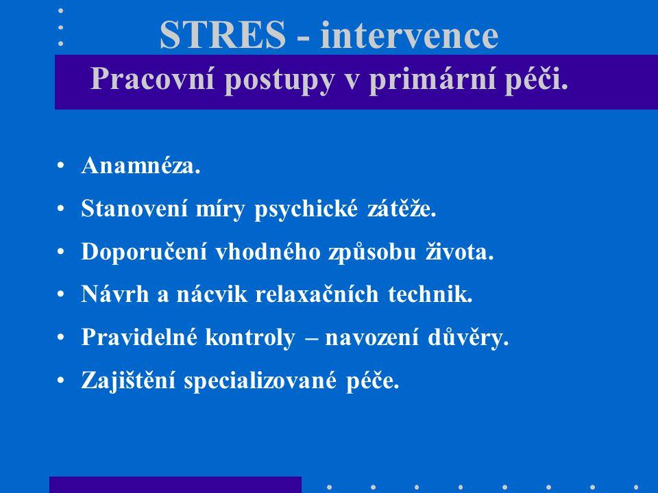 STRES - intervence Pracovní postupy v primární péči.