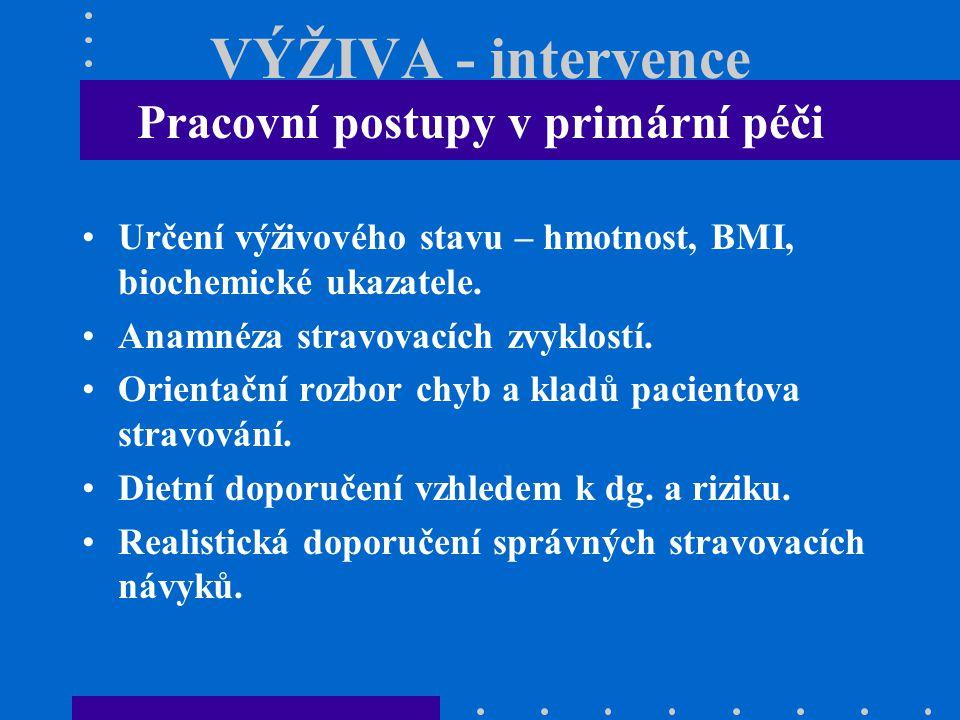 VÝŽIVA - intervence Pracovní postupy v primární péči