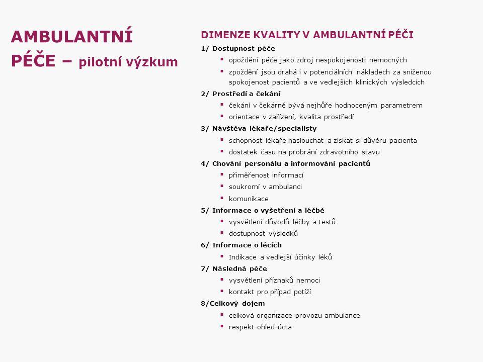 AMBULANTNÍ PÉČE – pilotní výzkum DIMENZE KVALITY V AMBULANTNÍ PÉČI