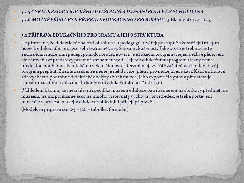 5.1.5 CYKLUS PEDAGOGICKÉHO UVAŽOVÁNÍ A JEDNÁNÍ PODLE L.S.SCHULMANA
