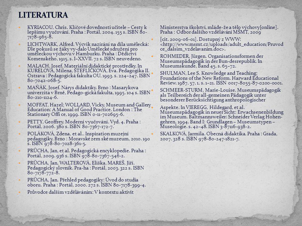 LITERATURA KYRIACOU, Chris. Klíčové dovednosti učitele – Cesty k lepšímu vyučování. Praha : Portál, 2004. 155 s. ISBN 80- 7178-965-8.