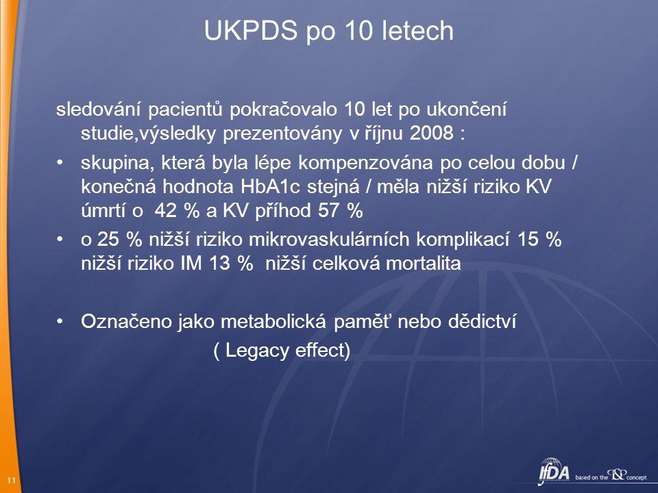 UKPDS po 10 letech sledování pacientů pokračovalo 10 let po ukončení studie,výsledky prezentovány v říjnu 2008 :