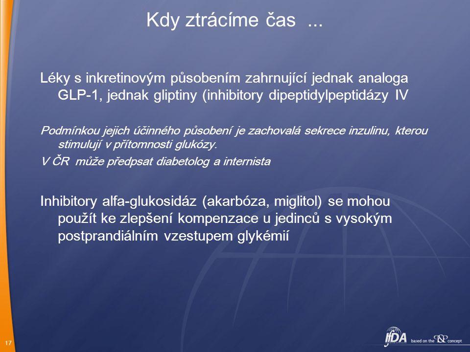 Kdy ztrácíme čas ... Léky s inkretinovým působením zahrnující jednak analoga GLP-1, jednak gliptiny (inhibitory dipeptidylpeptidázy IV.