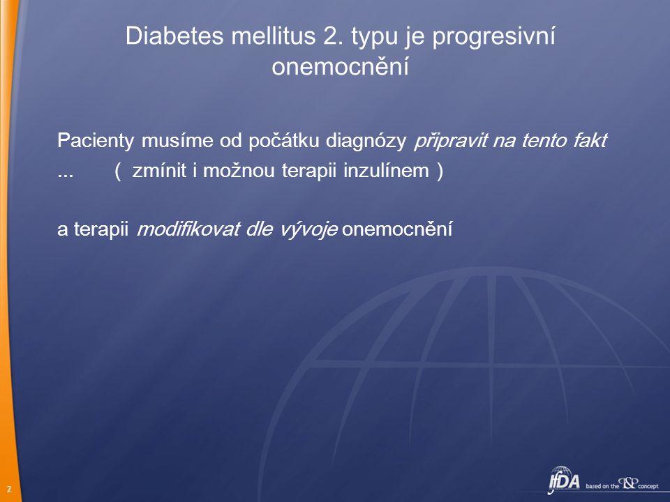 Diabetes mellitus 2. typu je progresivní onemocnění