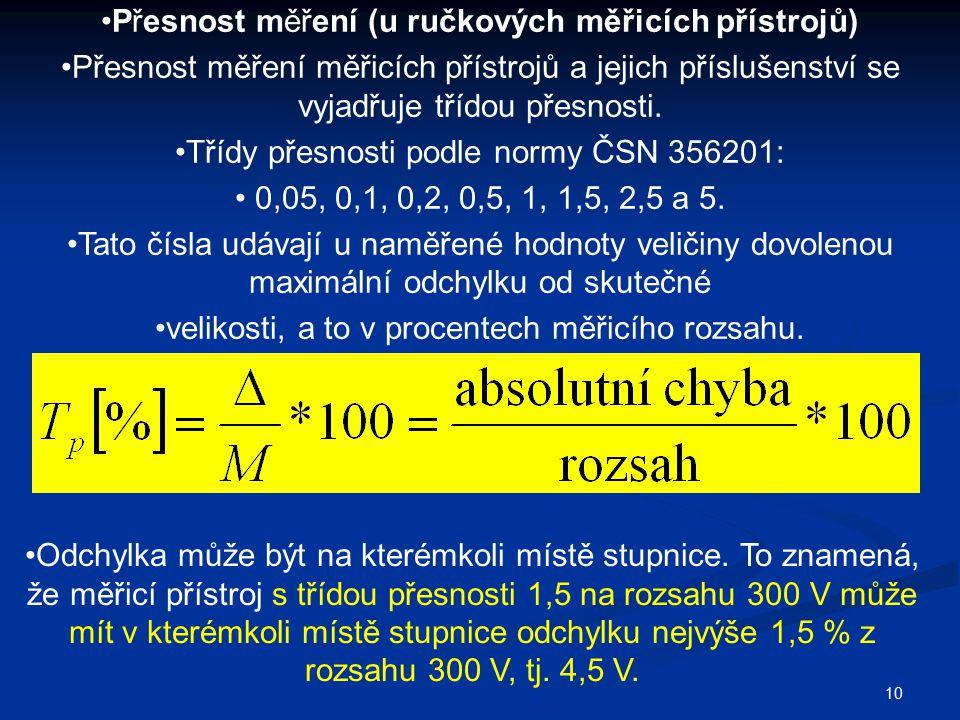 Přesnost měření (u ručkových měřicích přístrojů)