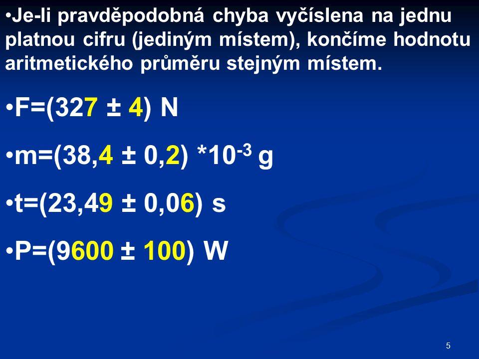 F=(327 ± 4) N m=(38,4 ± 0,2) *10-3 g t=(23,49 ± 0,06) s