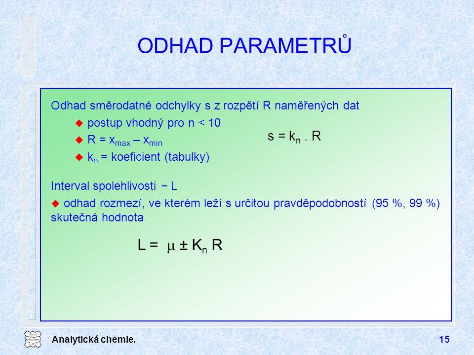 ODHAD PARAMETRŮ L =  ± Kn R s = kn . R