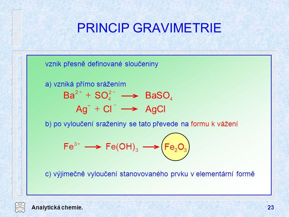 PRINCIP GRAVIMETRIE BaSO SO Ba AgCl Cl Ag + O Fe Fe(OH)