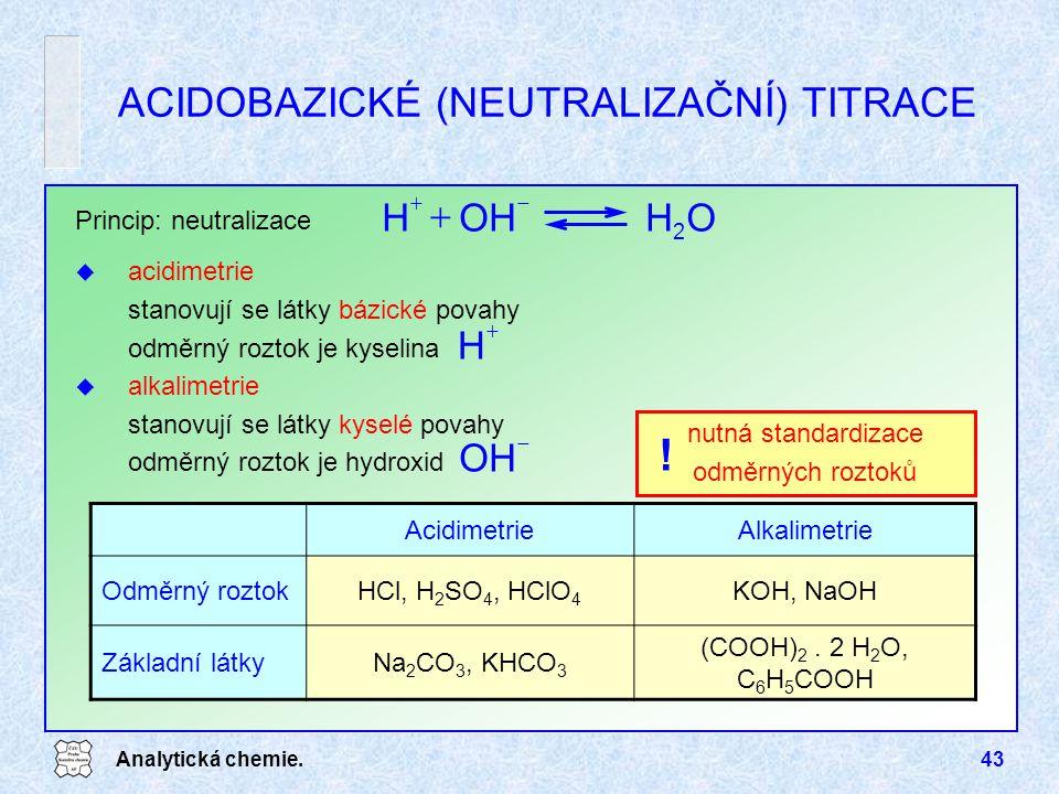 ACIDOBAZICKÉ (NEUTRALIZAČNÍ) TITRACE
