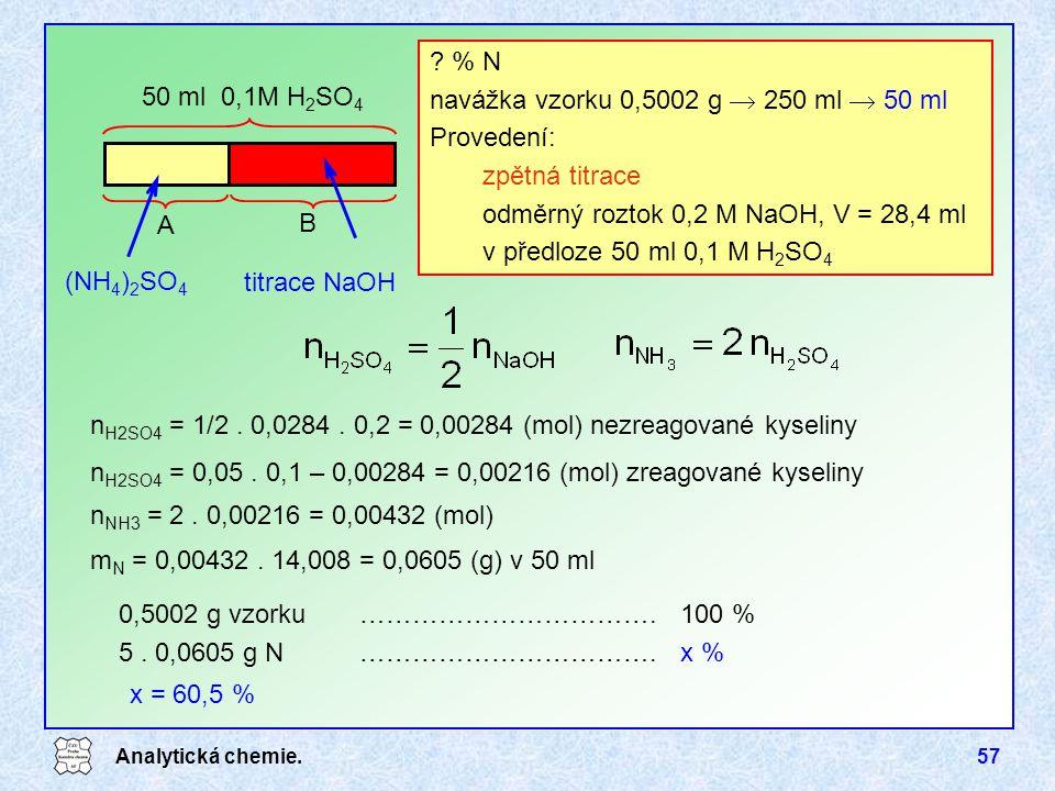 navážka vzorku 0,5002 g  250 ml  50 ml Provedení: zpětná titrace