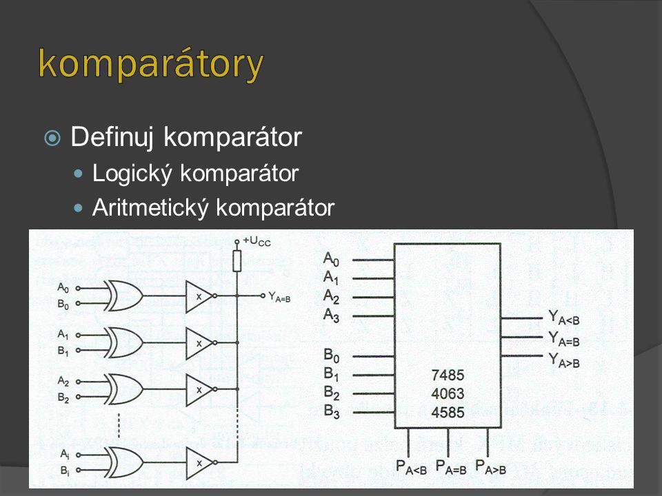 komparátory Definuj komparátor Logický komparátor